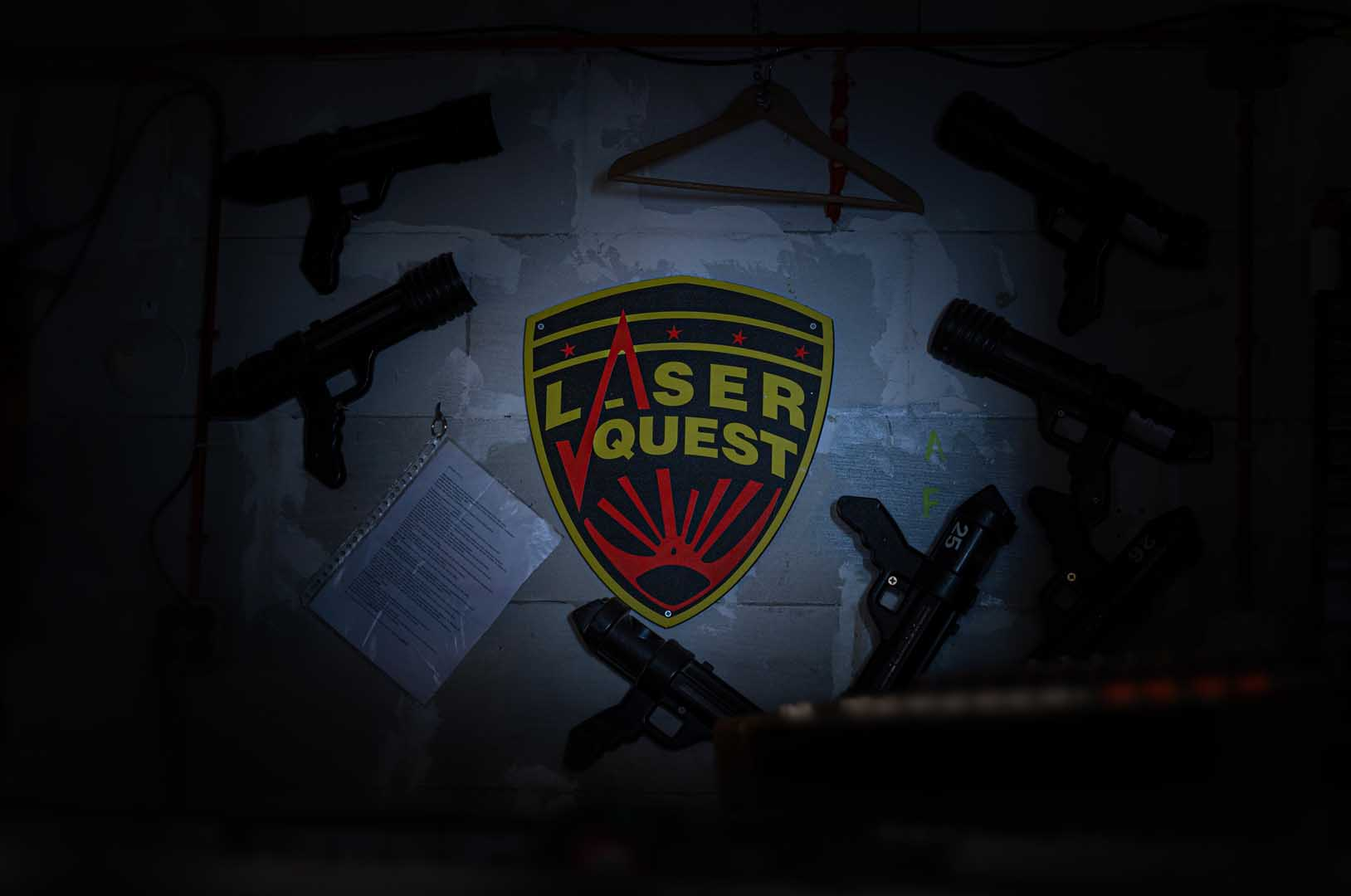 Laserquest logo on wall