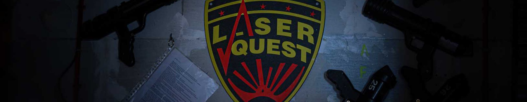 Laserquest logo on wall